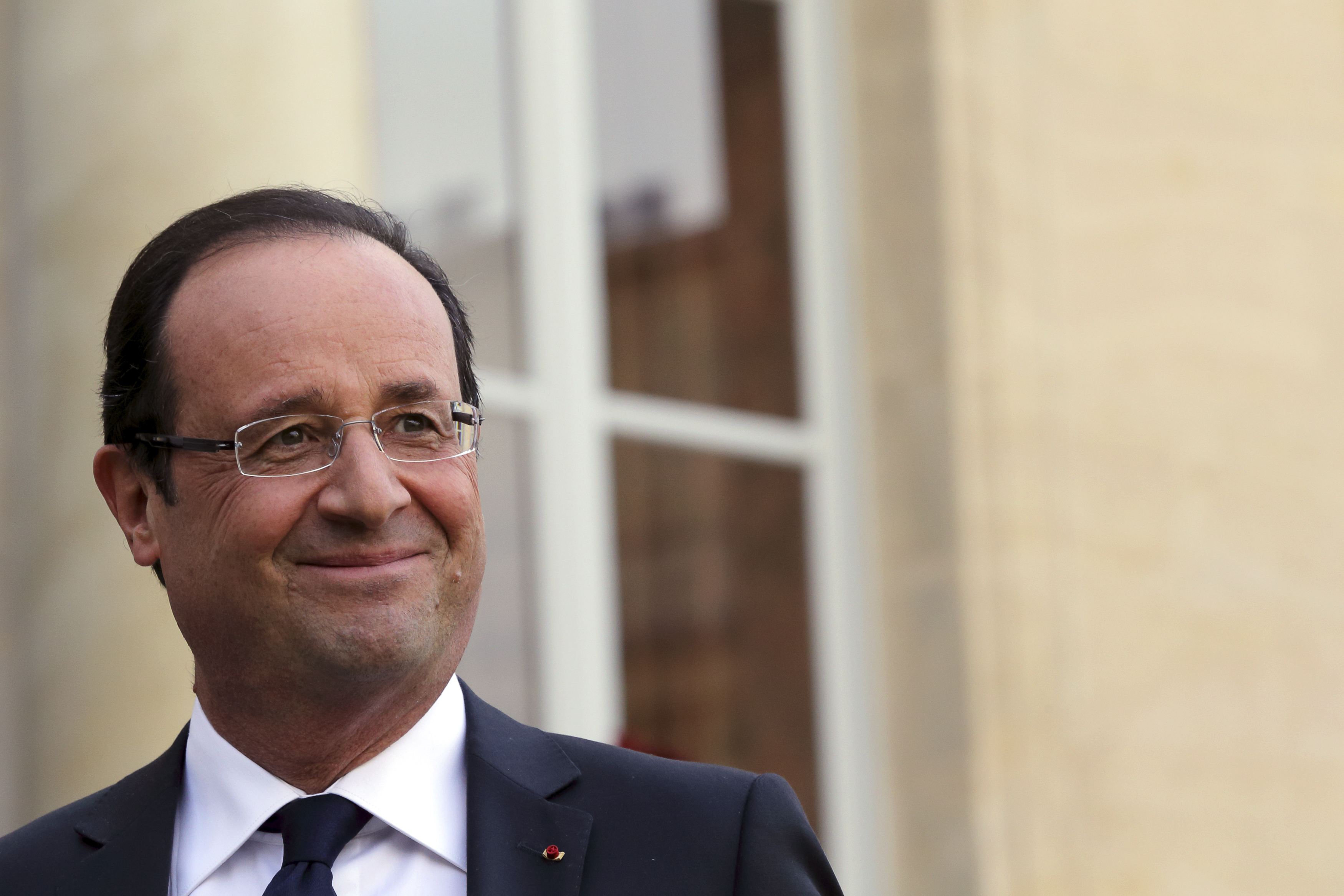 France's President Francois Hollande attends a joint declaration with Peruvian President at the Elysee Palace in Paris
