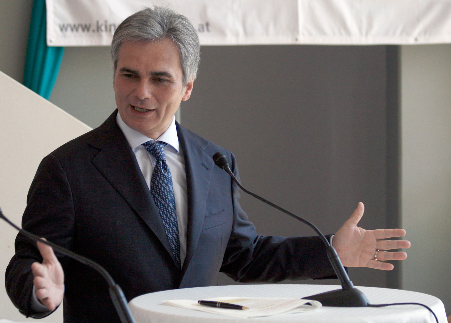Austrian politician Werner Faymann at a press conference during the election campaign 2008.