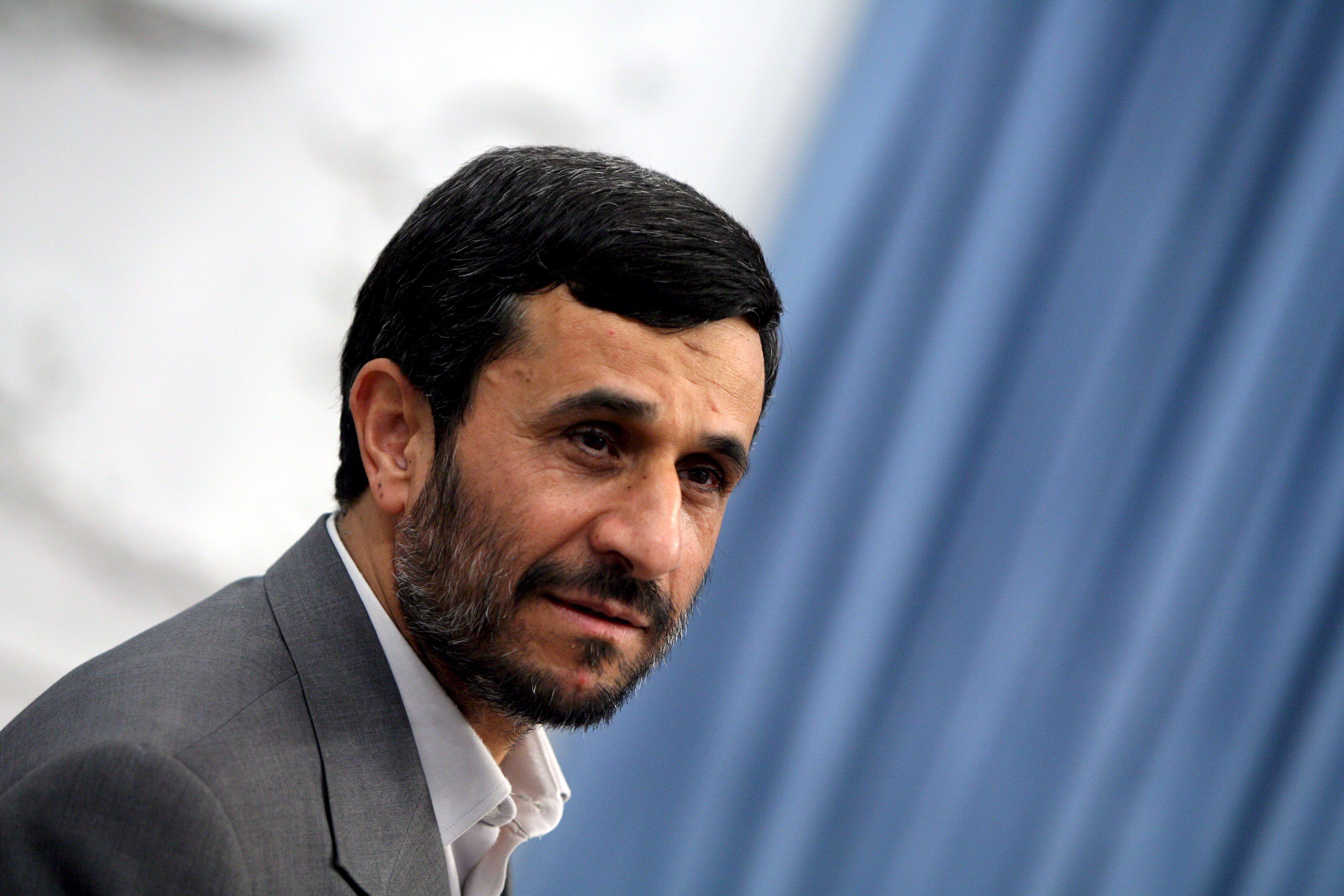 Iranian president Ahmadinejad in his office