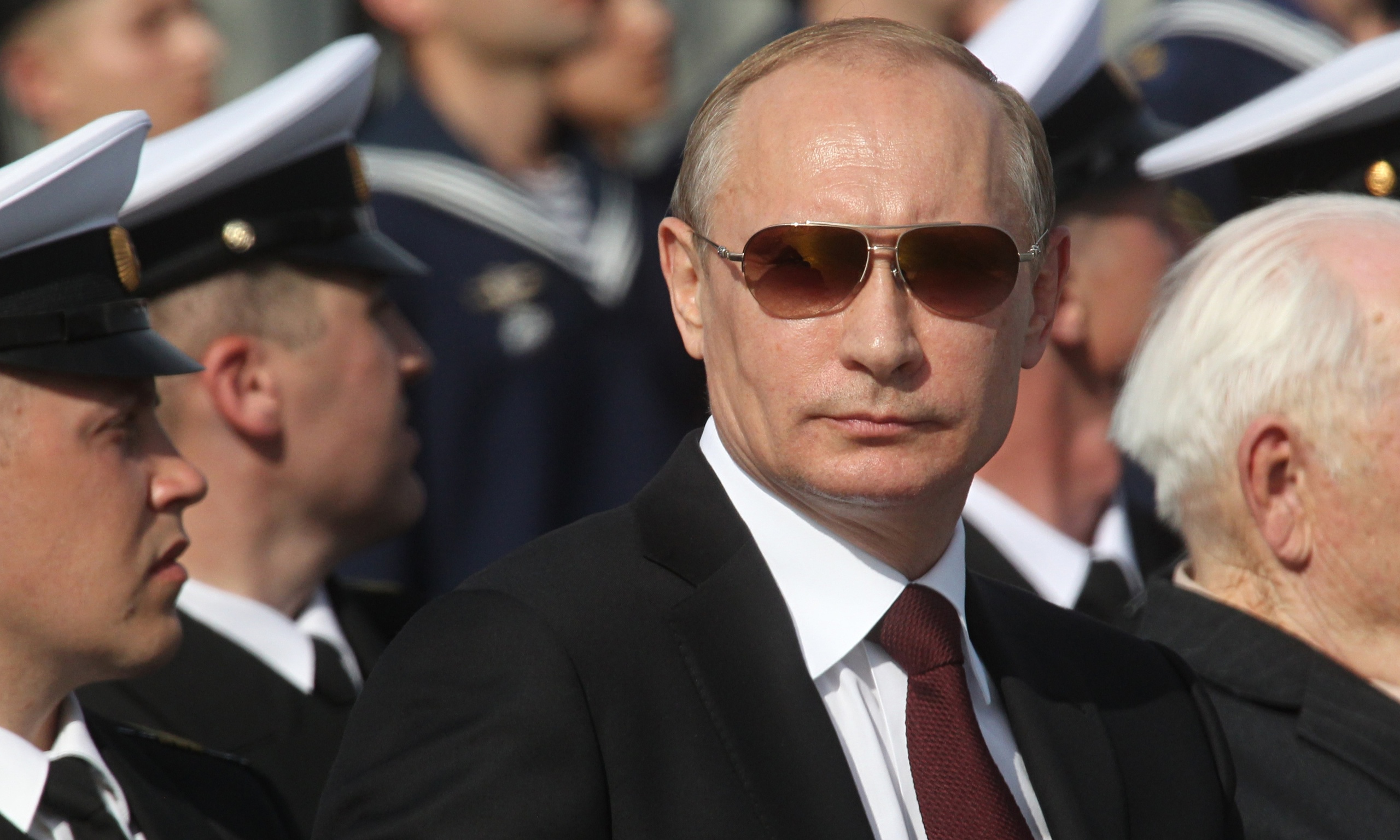 Vladimir Putin at a navy parade in Severomorsk