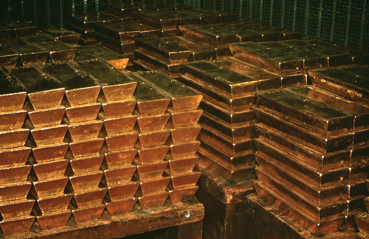 Gold Ingots Sit in a South African Bank Vault