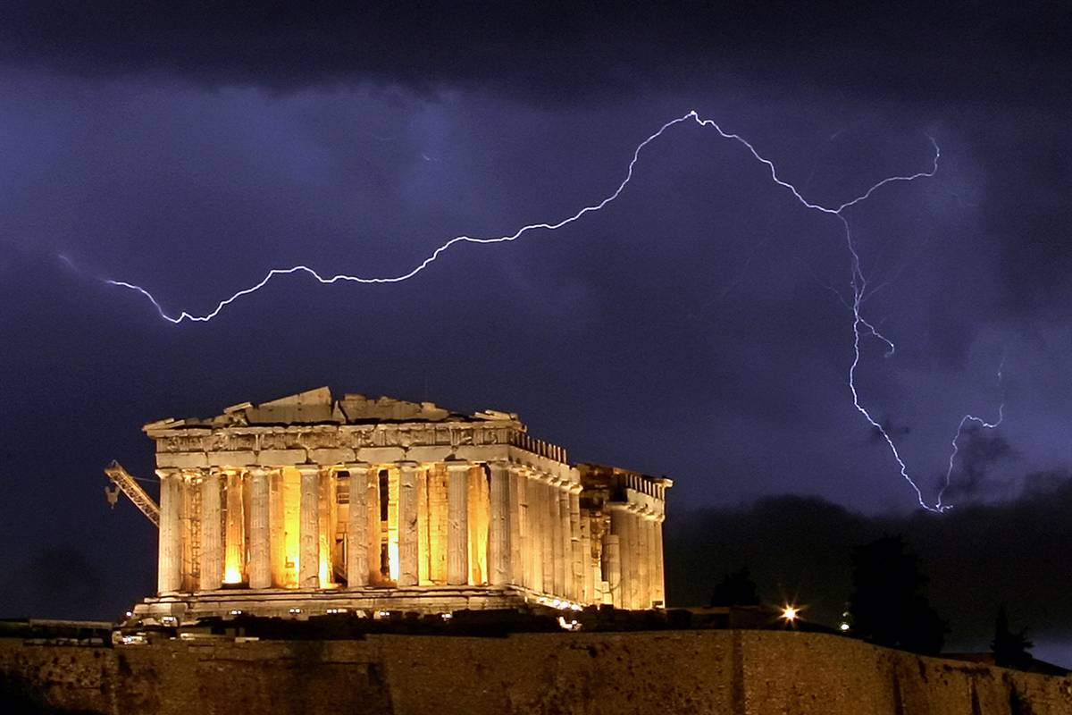 greek parthenon lightning storm