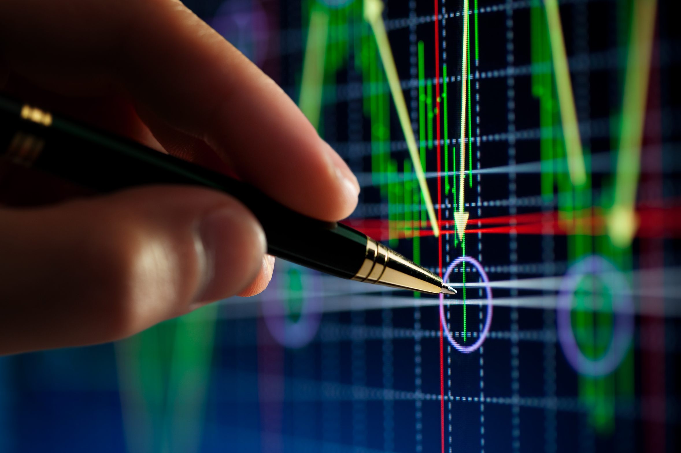 hand and pen pointer, chart