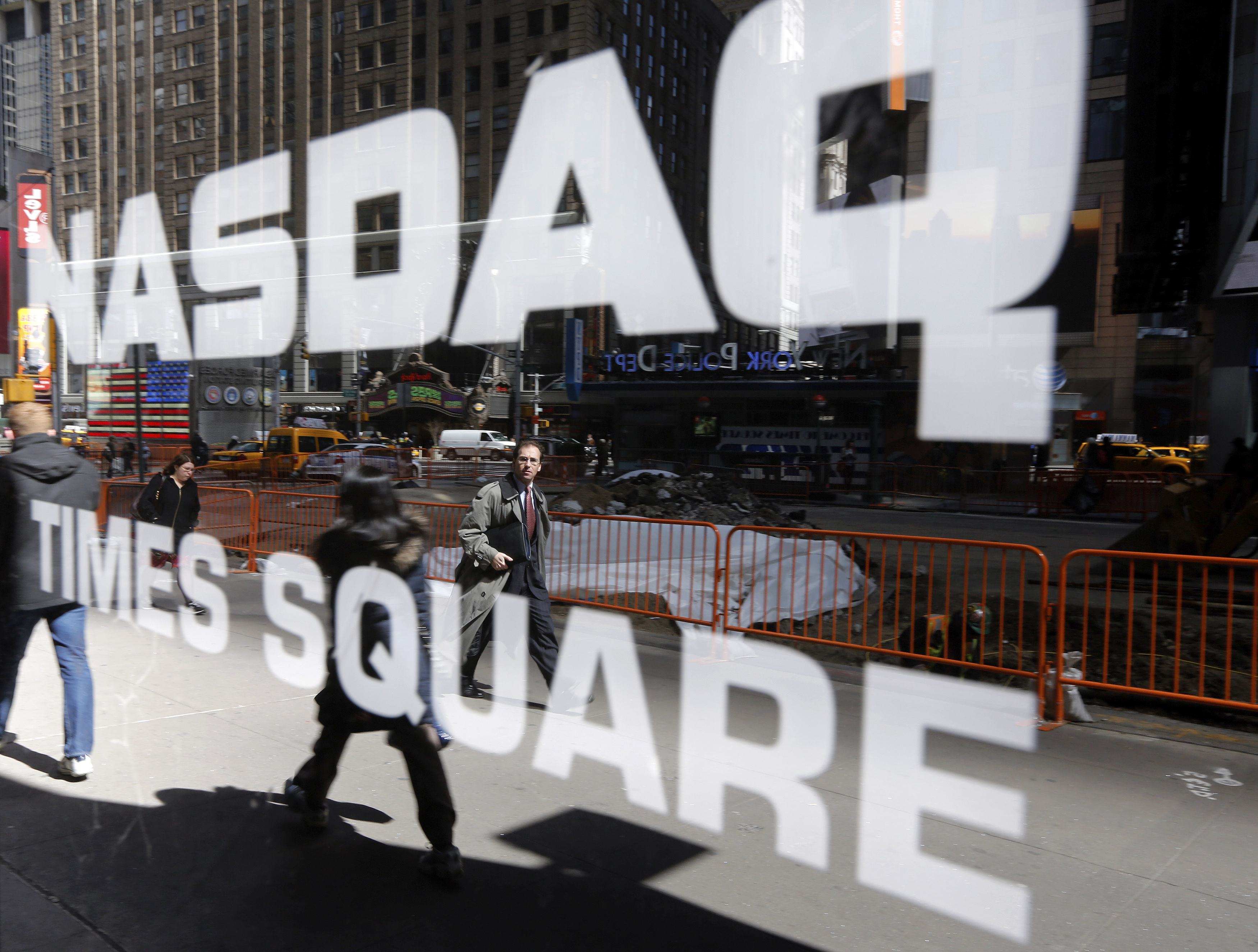 The Nasdaq logo is seen on the exterior of the Nasdaq MarketSite in New York