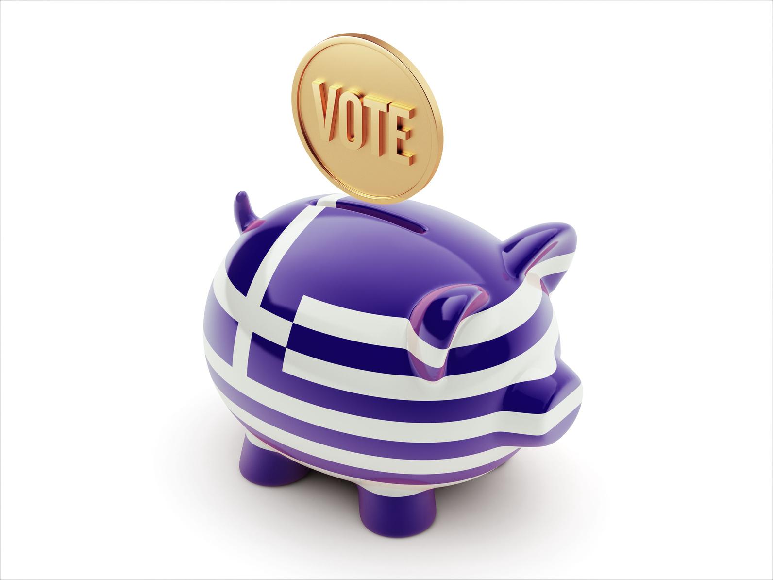 Greece Vote Concept Piggy Concept