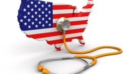 Map of USA with Stethoscope (clipping path included)